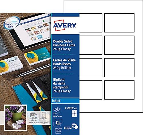 Avery 200 Cartes De Visite A Bords Lisses 240g