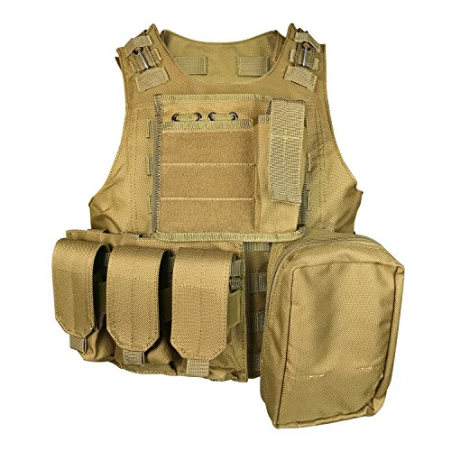 SMARTSTANDARD Tactical Vest Law Enforcement Molle Airsoft Modular CS field Army Fans Outdoor Supplies Combat Training Vest Military KHaki