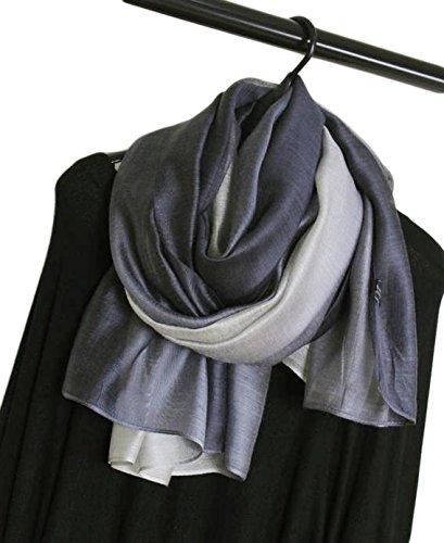 Donna 40% Seta di Gelso 60% cotone Colore Sfumato Sciarpe Wrap Stole Scialli (Grigio Chiaro): Amazon.it: Abbigliamento