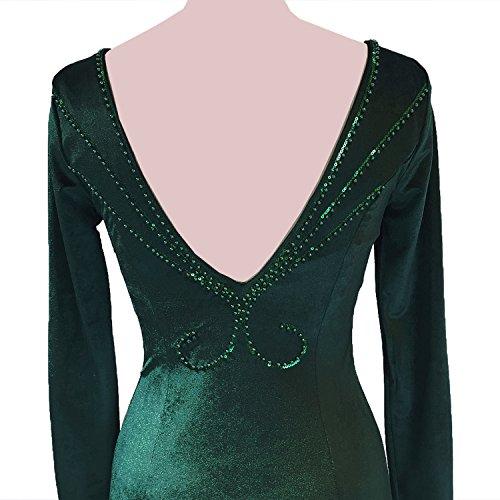 Ballkleider KAXIDY Elegante Abendkleider Lange Samtstoff Lang Grün Brautjungfernkleid Abendkleider Ballkleid r8rPq