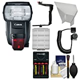 Canon Speedlite 600EX II-RT Flash with Batteries & Charger + Bracket + Cord + Reflector + Kit
