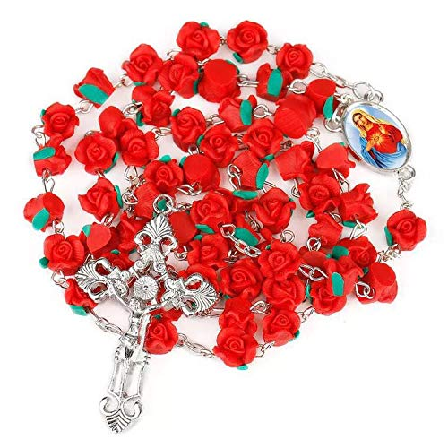 JuXinDa Ladies Bead Necklace - Catholic Holy Communion Gift - Red Rose Garden Rosary - Free Velvet Pouch ()