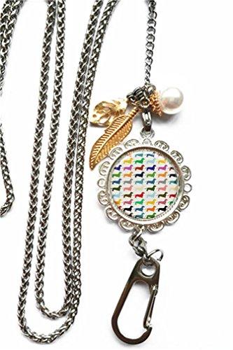 RhyNSky Animal Dachshund Puppy Dog Chain Lanyard Necklace Bracelet Keychain Eyeglass Holder for ID Card Name Tag Badge Holder with Clasp, - Holder Dachshund Eyeglass