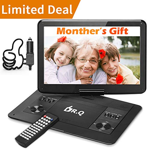 DR.Q 14.1'' Portable HD DVD Player 1280x800 Swivel Screen for Car Travel with 5 Hours Rechargeable Battery, Remote Control, 5.9ft Car Adapter, Supports SD Card USB Port and Multiple Disc Formats Black