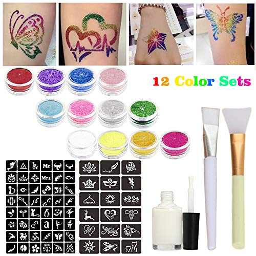 Glitter Tattoo Kits Powder Temporary Tattoo Body Painting with 12 Large Glitter Colors,66 Uniquely Themed Temporary Tattoo Stencils,1 Glue Applicator Bottles & 2 Glitter Brushes for Children, Teenager