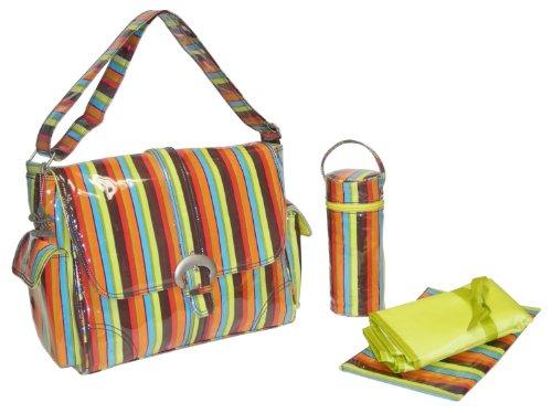 Kalencom Fashion - Bolso cambiador con accesorios, diseño de lunares, color marrón y azul Naranja
