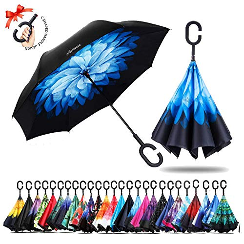Amersin Double Layer Inverted Umbrella Cars Reverse Open Folding Umbrellas, Windproof UV Protection Large Self Stand Upside Down Straight Umbrella for Golf Women and Men with C-Shaped (Snow Night)