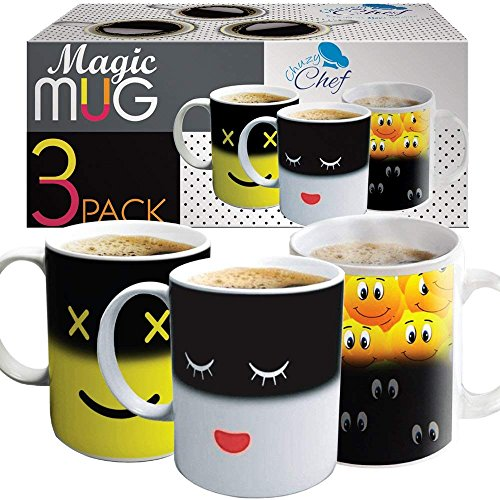 Heat Sensitive Coffee Magic Mugs - Set of Color Cute Coffee Tea Unique Changing Heat Cup 12 oz White & Yellow Happy Face and Smiley Emots Design Drinkware Mugs Gift Idea for Mom Dad Women & Men 3 Pack