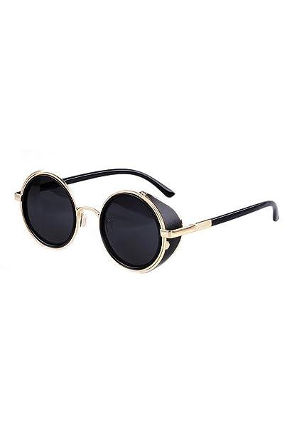 SODIAL(R)Gafas de sol de Steampunk clasica Redonda de Estilo vintage de los anos 80 -Negro con el borde de oro