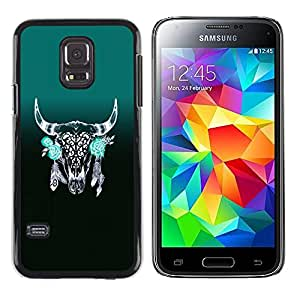 A-type Colorful Printed Hard Protective Back Case Cover Shell Skin for Samsung Galaxy S5 Mini / Samsung Galaxy S5 Mini Duos / SM-G800 !!!NOT S5 REGULAR! ( Horns Green Indian Feathers Native )
