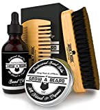 Beard Brush, Comb, Balm, Oil Grooming And Conditioner Beard Care For Men - Best Facial Hair Combo For Home And Travel - Ideal For Dry or Wet And All Sizes & Beards Style - Great GENTLEMEN'S Gift.