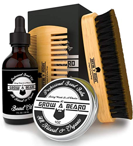 Beard Brush, Comb, Balm, Oil Grooming And Conditioner Beard Care For Men - Best Facial Hair Combo For Home And Travel - Ideal For Dry or Wet And All Sizes ()