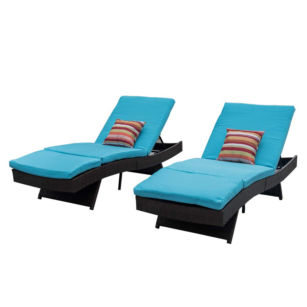 Sundale Outdoor 2PCS Deluxe Patio Adjustable Resin Wicker Chaise Lounge Chair Set with Cushions and 2 Throw Pillows (Blue) by Sundale Outdoor