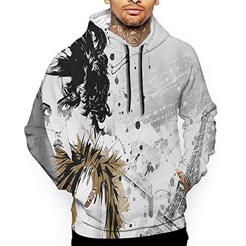 Hoodies SweatshirtMen 3D Print Modern,Posing Fashion Model Girl with Feathers and Dots Paris Eiffel Contemporary Artful,Grey White Sweatshirts for Teens