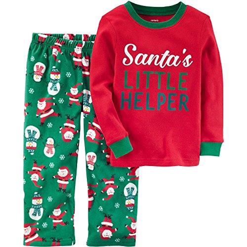 Carters Boys 12M 8 2 Piece Christmas Cotton And Fleece Pajamas  Red Green  2T