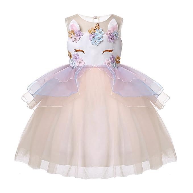 89748af5229b Amazon.com: LZH Girls Unicorn Costume Dress Flower Princess Birthday Party  Pageant Dress with Hairband: Clothing