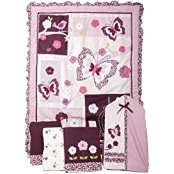 Lambs & Ivy Butterfly Plumberry 5 Piece Bedding Set, Plum, Pink, White