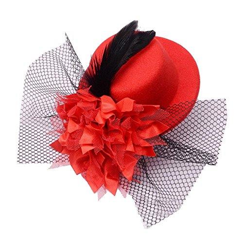 Coolr Women's Fascinator Flower Hair Clip Feather Burlesque Punk Mini Hat Red