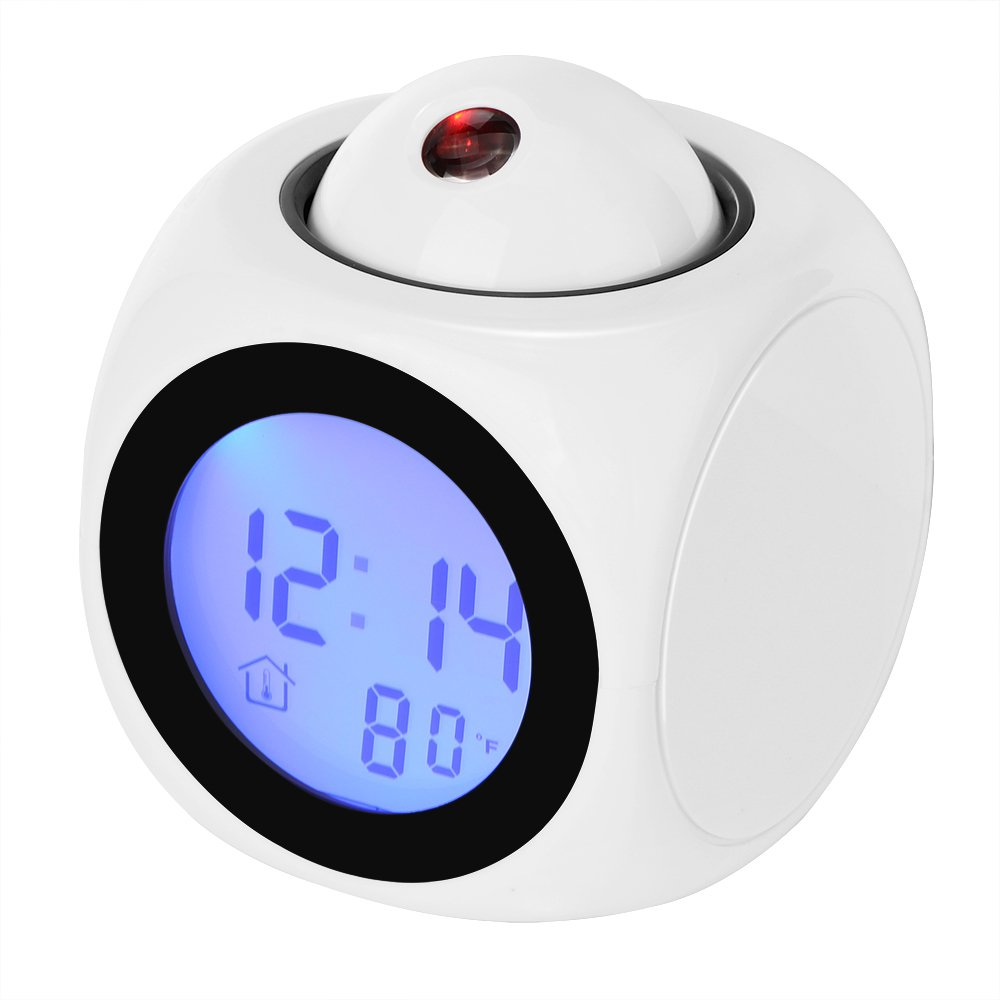 Konesky Projection Alarm Clock, LED Desk Clock with Digital LCD Voice Talking Function, Alarm,Snooze,Temperature,Time(12H/24H) Display (White)