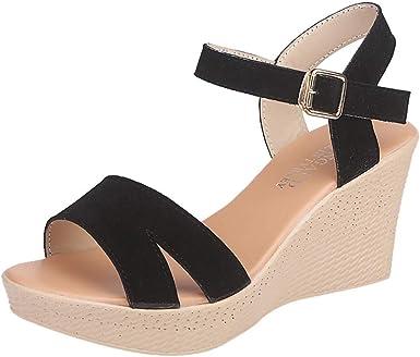Zarlle Zapatos Sandalias Con Cuna Tacon Plataforma Alta Tallas Grandes Moda Verano De Mujeres Sandalia Con Hebilla Y Boca De Pez Senoras Zapatos De Playa Nina Calzado 35 39 Amazon Es Ropa Y Accesorios