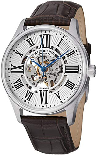 Stuhrling Original Men's 747.01 Atrium Automatic Skeleton Brown Leather Band Watch ()