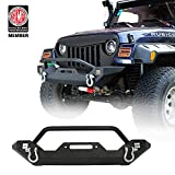 1987-2006 Jeep Wrangler TJ YJ Rock Crawler Front Bumper Blade Bumper w/Winch Plate & 2X LED Accent Lights