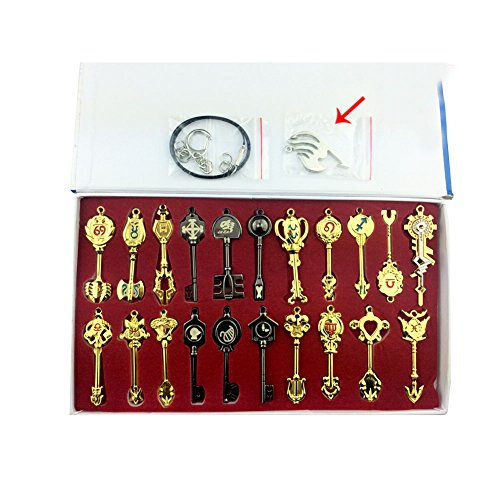 """Top Home Fairy Tail Key Chain and Necklace Set with Box Model Assembled Anime Cosplay Model Props Gift for Your Friend 2.5"""" (21 pc)"""