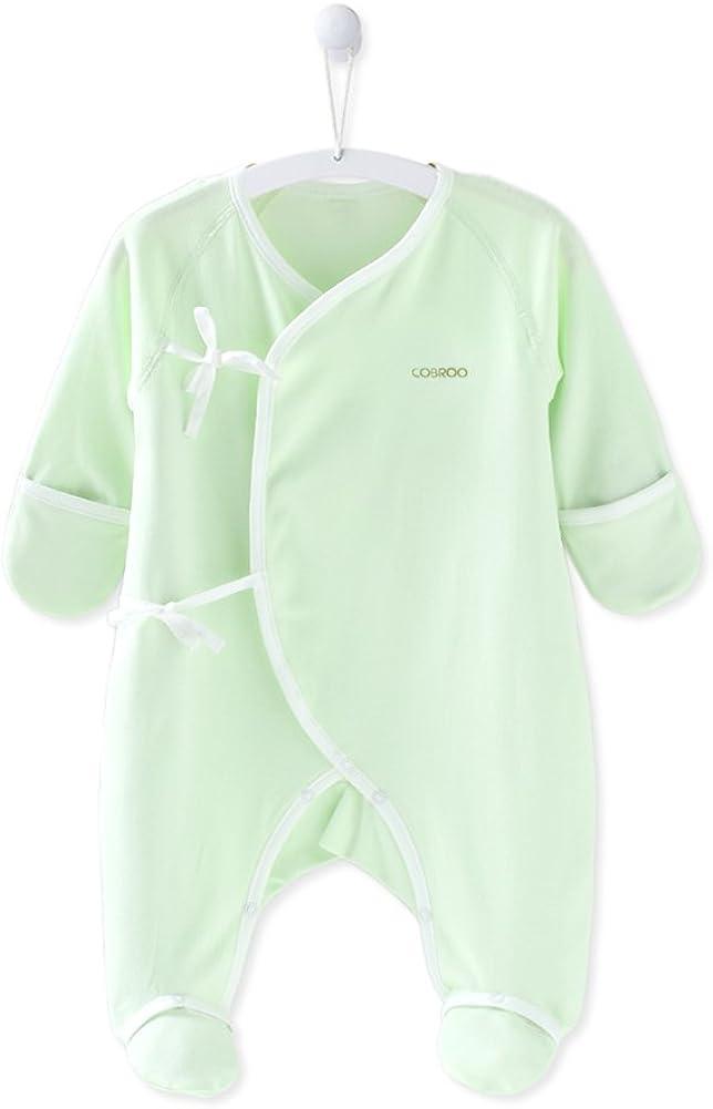 COBROO Newborn Baby Boy Girl Clothes 0-3 Month Baby Footies Sleepwear with Mitten Socks