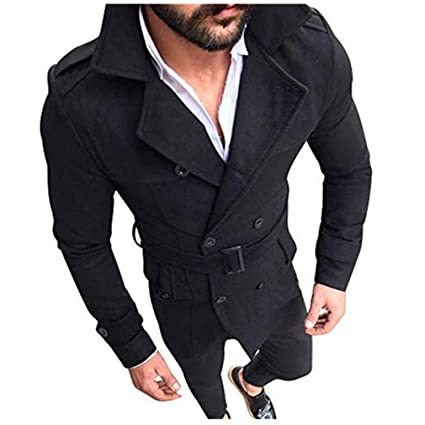 5102a875ba Mens Double Breasted Trench Coat Slim Notched Collar Overcoat Winter Long  Jackets (S, Black