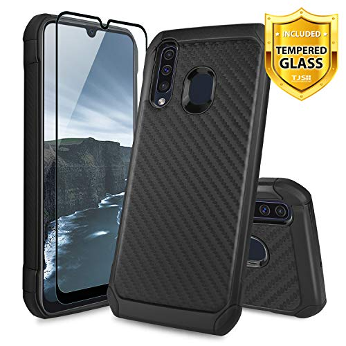 TJS Phone Case for Samsung Galaxy A50/Galaxy A30/Galaxy A20, with [Full  Coverage Tempered Glass Screen Protector] Dual Layer Hybrid Shock Absorbing