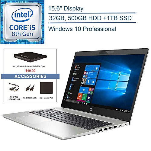 2020 HP Probook 450 G6 15.6″ Business Laptop Computer, 8th Gen Intel Quad-Core i5-8265U Beat i7-7500U, 32GB DDR4 RAM, 500GB HDD + 1TB SSD, Windows 10 Professional + YZAKKA External DVD+Accessories