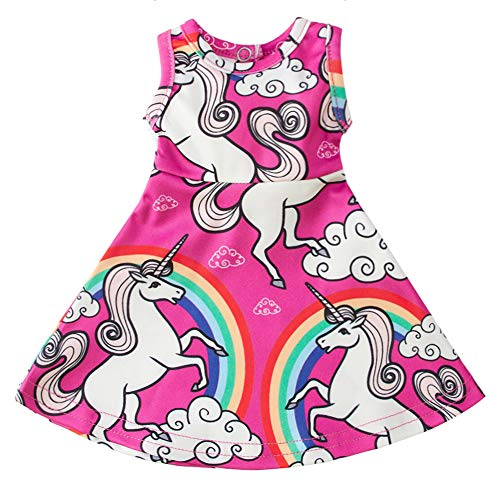 (Doll Unicorn Matching Dresses Sleeveless Skirt Dress Clothes Outfits Fits 18