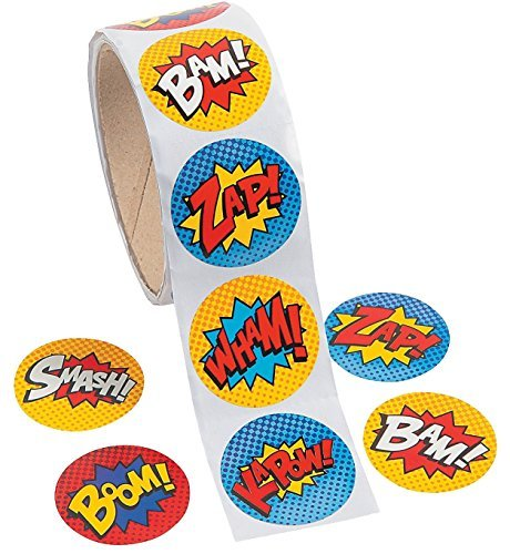 Fun Express Superhero Stickers (100 Stickers Per