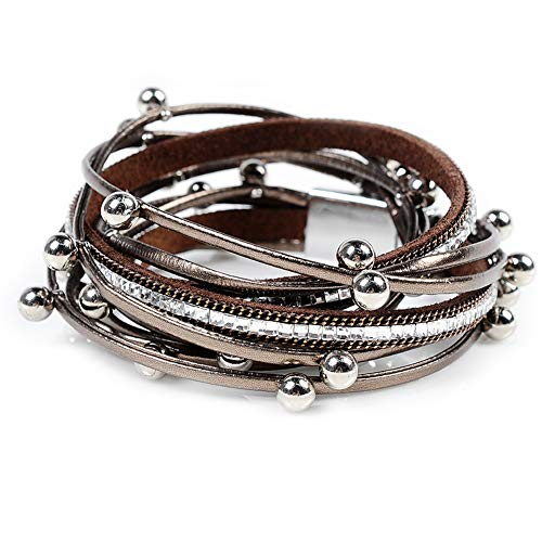 Artilady Shinning wrap Clasp Bangle for Women (Crystal Brown)
