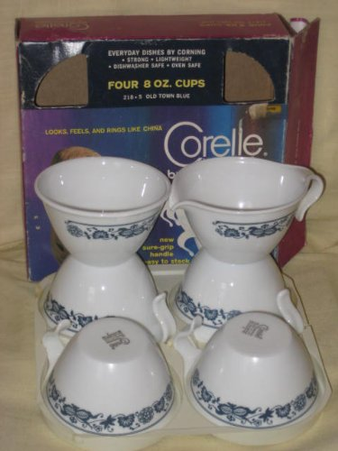 6 PIECE SET - Corning Corelle Glass OLD TOWN BLUE - 4 Cups 8 oz, 1 Open Sugar Bowl & Creamer