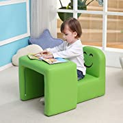 Emall Life Multi-functional Children's Armchair Kids Wooden Frame Chair and Table Set with Cartoon Smile Face Toddler Sofa Green