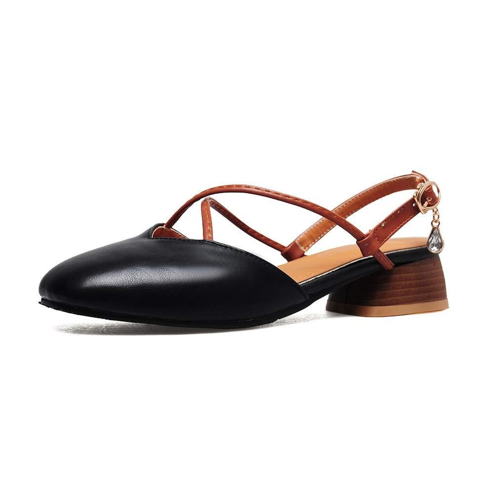 MENGLTX High Heels Sandalen Neue Ankunft Frauen Pumpt Einfache Pu Schnalle Mode Schuhe Große Größe 33-46 Elegante Runde Zehe Platz Ferse Sommer Schuhe B07QLT45T8 Sport- & Outdoorschuhe Jahresendverkauf