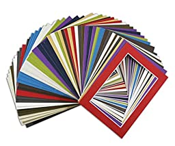 Golden State Art, Acid Free Pack of 50 Mix 5x7 Photo Mats Mattes Matting with White Core Bevel Cut For 4x6 Pictures in Premier …