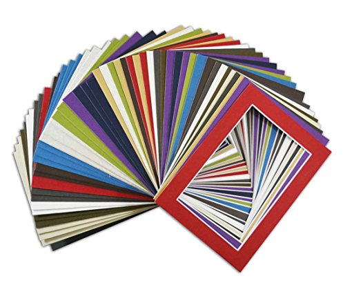 Golden State Art, Acid Free Pack of 50 Mix 5x7 Photo Mats Mattes Matting with White Core Bevel Cut For 4x6 Pictures in Premier