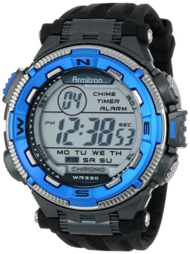 Armitron Sport Men's 40/8301BLU Blue and Silver-Tone Accented Black Resin Strap Chronograph Digital Watch from Armitron Sport