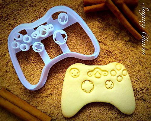 Game Controller Cookie Cutter - Video Games Cookies Mold by Sugary Charm - Ps4 and Xbox Shaped Dough Stamp - Biscuit Maker Cutters for Fondant - Funny Playstation Shape Kitchen Supplies from SugaryCharm