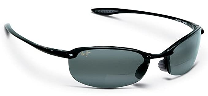 a787ee14588 Image Unavailable. Image not available for. Color: MAUI JIM MAKAHA 405  405-02 GLOSS BLACK PLASTIC NEUTRAL GREY POLARIZED SEMI RIMLESS SUNGLASSES