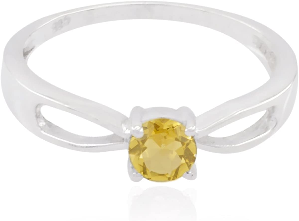 jents Jewelry Great Selling Items Gift for Teachers Day Stacking Rings Sterling Silver Yellow Citrine Real Gemstones Ring Real Gemstones Round Faceted Citrine Rings