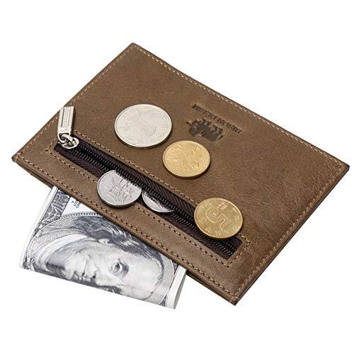 BISON DENIM Slim Front Pocket Wallet Leather Credit Card Case Minimalist Wallet with Zipper Coin Pocket (Leather Open Sided Mini Skinny Card Case)