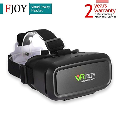 "3D VR Glasses / FJOY Virtual Reality VR Headset / VR Box with Stereo Headphone for Video And Games Compatible with All 3.5""-5.5"" Smartphones with IOS / Android and Other Cellphones Black"