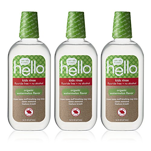 Hello Oral Care Kids Fluoride Free Organic Rinse, Watermelon, 3 Count from Hello Oral Care