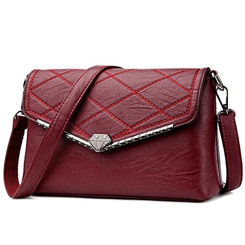 Bolso De Hombro Retro De Moda De Señora Casual Diagonal Bag Elegante De Mediana Edad Burgundy