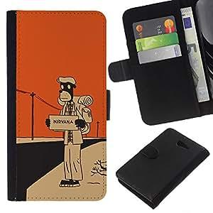 LECELL--Cuero de la tarjeta la carpeta del tirón Smartphone Slots Protección Holder For Sony Xperia M2 -- Nirvana Hitchhike --