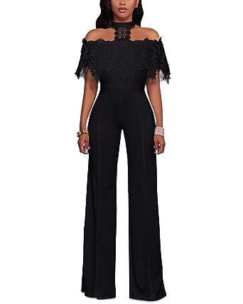 Femmes Casual Élégant Pantalon Large Rompers Combinaisons Epaules Dénudées  Longue Jumpsuits Noir S 6d17e2e203af