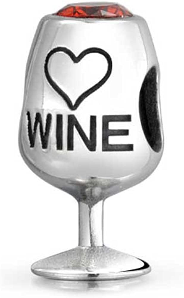 Foodie Goblet Stem Glass Sommelier Vineyard Red Wine Bead Charm For Women 925 Sterling Silver Fits European Bracelet